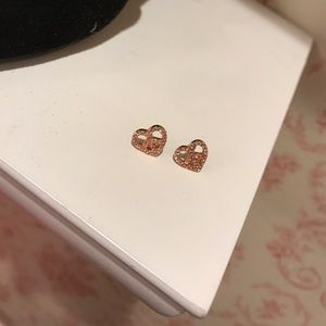 Juicy couture ping heart peace sign earrings